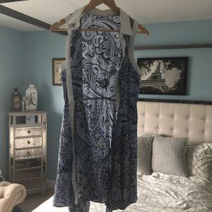 EUC Trina Turk Silk Blue Paisley WhiteLinen Dress8
